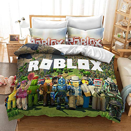 Meiju Duvet Cover Set, 3D Bedding Set with Microfiber Pillowcases & Zipper Closure Quilt Case Printed Effect for Boy Girl Single Double King Size Bed (Roblox 6,140x200cm)