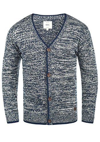 Redefined Rebel Miles Herren Strickjacke Cardigan Feinstrick Mit V-Ausschnitt und Knopfleiste Aus 100% Baumwolle, Größe:M, Farbe:Navy