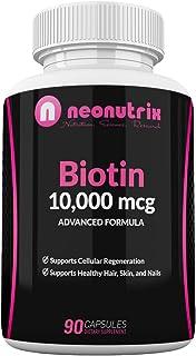 Biotin 10000mcg Supplement - Hair Skin and Nails Vitamins for Women and Men– Biotin for Hair Growth - Biotina para el Cabe...