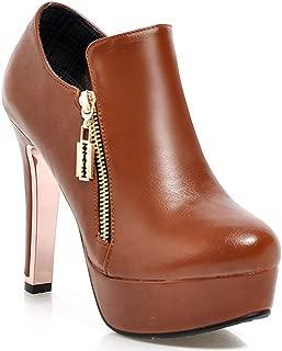 Women's Fashion High Heel Chunky Platform Boots Side Zipper Short Booties