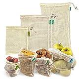 Bolsas reutilizables fruta. 4 bolsas reutilizables compra de malla de algodón...