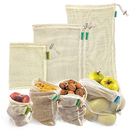 Sacs à fruits réutilisables. 4 sacs réutilisables en maille de coton pour produits frais. Lavables et transpirants pour fruits, légumes, jouets. Sans BPA, respectueux de l'environnement.Biodégradable
