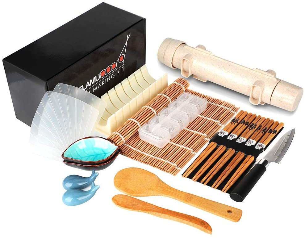 Delamu Sushi Making Kit, 20 in 1 Sushi Bazooka Roller Kit with Chef's Knife, Bamboo Mats, Bazooka Roller, Rice Mold, Temaki Sushi Mats, Rice Paddle, Rice Spreader, Chopsticks, Sauce Dishes, Guide Book: Home & Kitchen