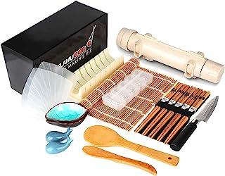 Delamu Sushi Making Kit, 20 in 1 Sushi Bazooka Roller Kit with Chef's Knife, Bamboo Mats, Bazooka Roller, Rice Mold, Temak...