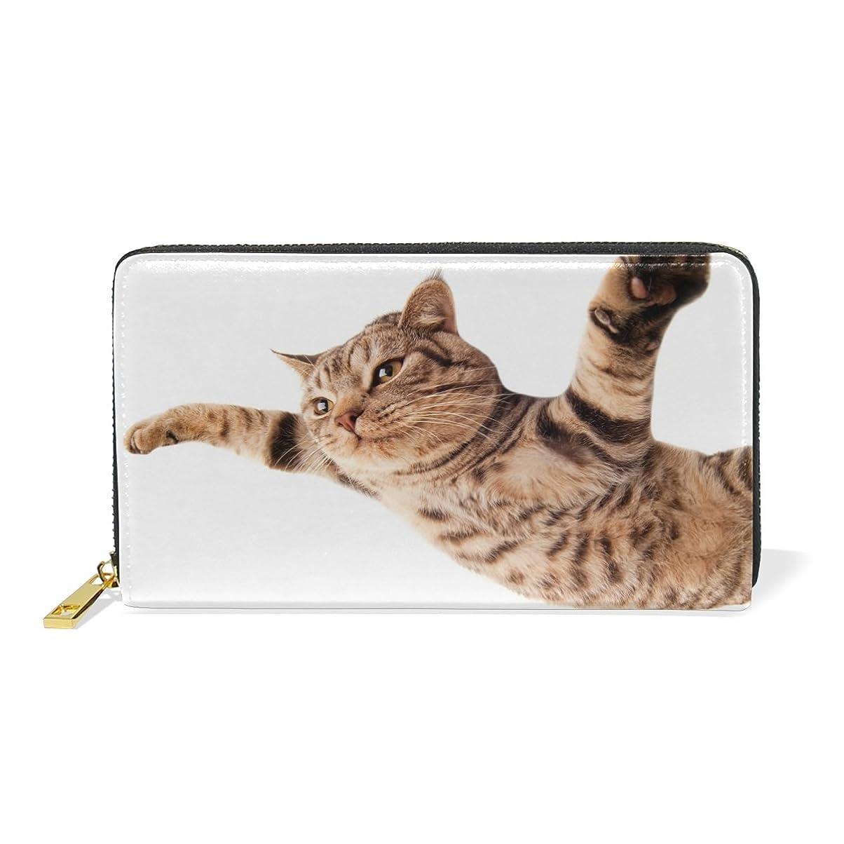 鮫特異なみAOMOKI 財布 長財布 男女兼用 本革 財嚢 革袋 小銭入れ付 北欧風 大容量 ラウンドファスナー 通勤 通学 プレゼント 猫柄 かわいい猫