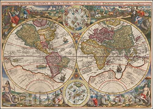Historic Map - Orbis Terrarum Typus De Integro Multis in Locis Emendatus auctore Petro Plancio 1594, 1594, Petrus Plancius v4 36in x 24in