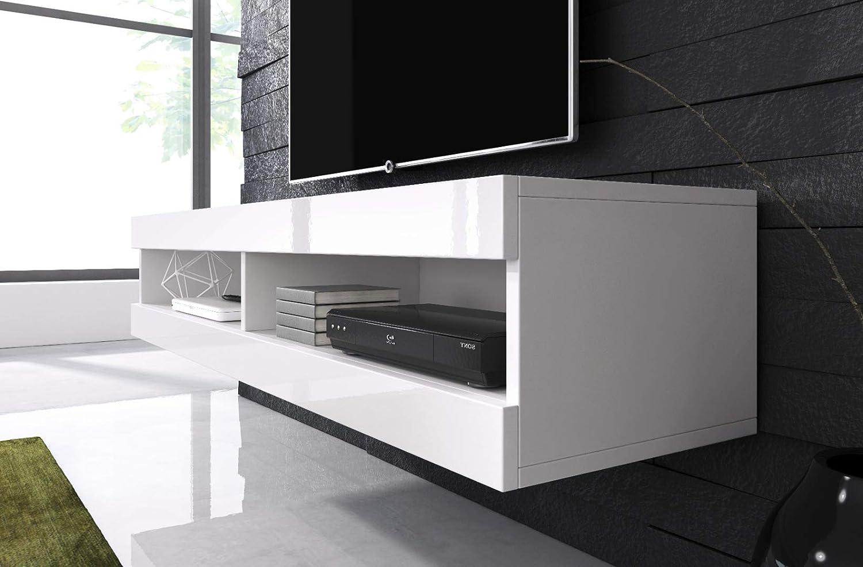 E-com Meuble TV Armoire Tele Table Television Volant 150 cm Blanc