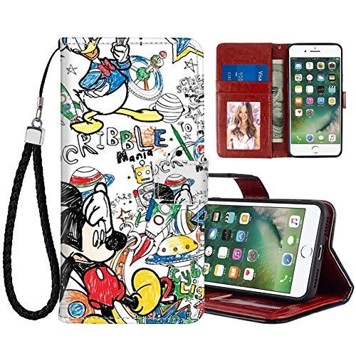 DISNEY COLLECTION Funda tipo cartera para iPhone 7/8/SE2 de piel sintética pintada a mano Mickey Wallpaper magnético para tarjetas de crédito con correa de mano, soporte para mujeres y niñas