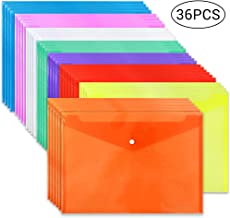 JPSOR 36pcs Poly Envelope Folders, Clear Plastic Envelopes with Snap Button Closure, 8 Colors, A4 Size