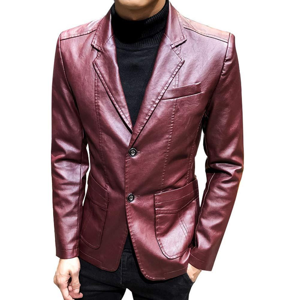WOW- Coat Chaqueta de Cuero para Hombre - Cuello de Camisa de Color sólido Chaquetas de Primavera y otoño de 2019 Abrigos cómodos para Hombres de Negocios Casuales,Burgundy,XXXL: Amazon.es: Hogar