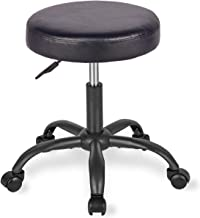 Rolling Stool Adjustable Stool Swivel Office Desk Stool Chair with Wheels for Home,Office,Massage,Spa,Shop in Black