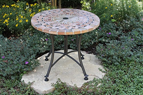 Outdoor Interiors Sandstone Mosaic Accent Table with Metal Base, 24-Inch, Charcoal