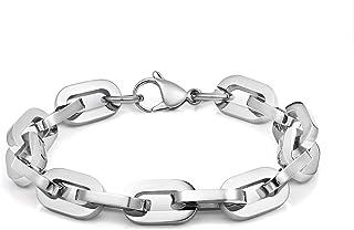 أساور للرجال والنساء من الفولاذ المقاوم للصدأ من لاسوا، مقاس 21.5 سم