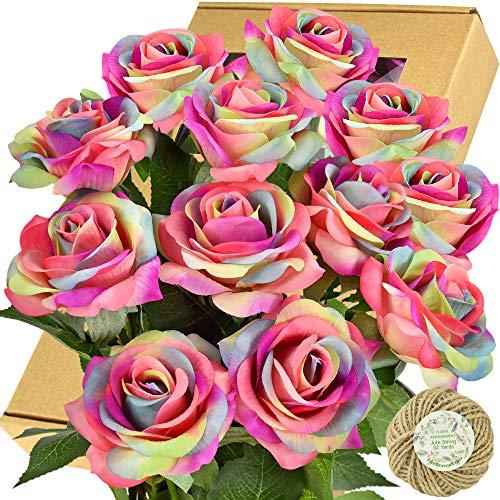 FiveSeasonStuff Fake Roses Wedding Flowers Real Touch Silk...