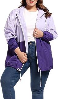 Chaqueta Impermeable Mujer Plus Size con Capucha Ajustable Abrigo Impermeable Mujer Chaqueta Manga Larga con Capucha Sudad...