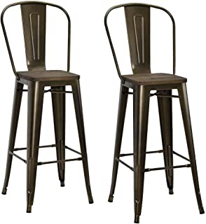 DHP Luxor Metal Counter Stool with Wood Seat and Backrest, Set of two, 30