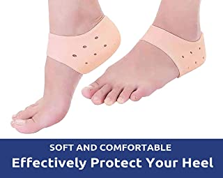 IZZORI Silicone Gel Heel Socks for Dry Hard Cracked Heel Repair Pad, Swelling & Pain Relief, Cushion Support, Foot Care, Ankle Protection, Plantar Fasciitis for Men and Women (Free Size, Skin, 1 Pair)