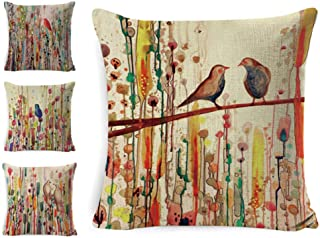 LoveHome Decor Decorative Throw Pillow Covers Set of 4,Vivid Birds and Trees Branch Pattern Pillow Case Cushion for Sofa, Bench,Chair,Living Room Décor,Cotton Linen,18 x 18 inch