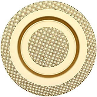 Prime Dinnerware Bullseye 13 Inch With Rim Glass Charger Plate Set of 2 (Gold)