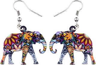 BONSNY Acrylic Africa Jungle Elephant Drop Dangle Statement for Women kids Earrings Jewelry Charms Gifts