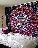 Raajsee Mandala - Tapiz de algodón indio (220 x 210 cm), multicolor
