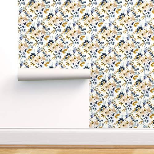 Blumen, Rose, Blau, Senf, Herbst, Boho Spezialangefertigte Strapazierfähige Tapete 61 cm x 1000 cm von Spoonflower