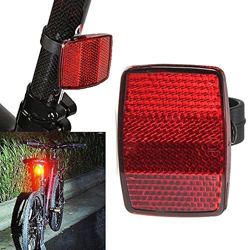 OHQ Linterna Luz Reflector De Bicicleta Manillar Montaje Seguro Reflector Bicicleta Delantero Trasero Advertencia Rojo Blanco Nuevo (Rojo)