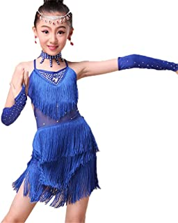 0abade8d85c Costume Princesse Cosplay Enfants Filles De Danse Latine Robe Sans Manches  Dos Nu Glands Rumba Samba
