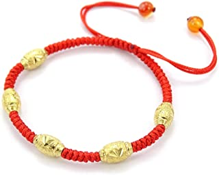 jennysun2010 5 Beads (The Five Blessings) Handmade Lucky Happy Wealthy Healthy Braided Red Rope 24K Gold Vacuum Plated Beads Red Agate Gemstone Adjustable Bracelet