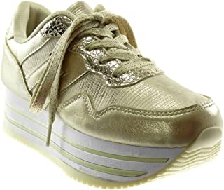 786fcf74ce836 Angkorly - Chaussure Mode Basket Compensée Sporty Chic Tennis Plateforme  Femme Brillant Croco Talon compensé Plateforme