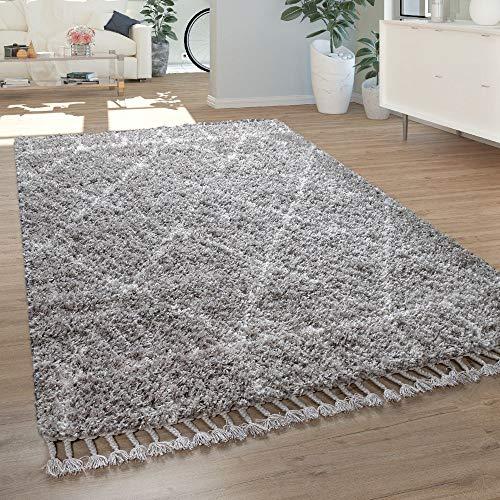 Paco Home Tapis À Poils Longs Gris Salon Motif Oriental Style Berbère Doux  Shaggy, Dimension:160x230 cm