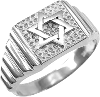 Solid 10k White Gold Jewish Star of David for Men