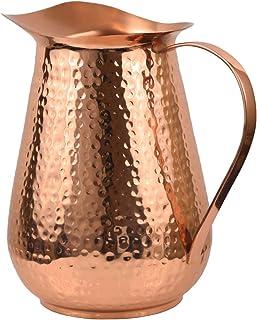 Artisan's Anvil Copper Pitcher w/Copper Handle, Pure 100% Hammered Vessel, Heavy Duty Copper Jug, Handmade, 70 fl. Oz, Bes...