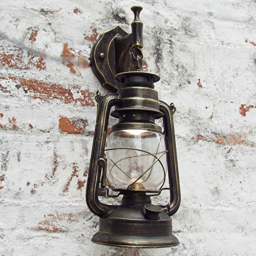 Bcyhh Wandleuchter Vintage Rustikal Klassische Industrie Wandlampe Schmiedeeisen Laterne 1×E27 220V Retro Metall Kreative Lampe Wandlicht Wegeleuchten Nacht (Bronze)