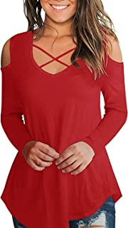 Cold Shoulder Long Sleeve Casual Cold Shoulder Tunic Tops Loose V Neck Criss Cross Blouse Shirts
