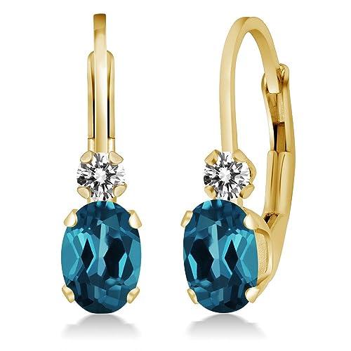 b88e04c22740 1.07 Ct Oval London Blue Topaz White Diamond 14K Yellow Gold Earrings