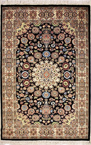 RugsTC 124 x 193 Pak Persian Area Rug with Wool Pile - Ardabil Design Hand-Knotted in Black,White,Beige Colors | a 122 x 183 Rectangular Rug