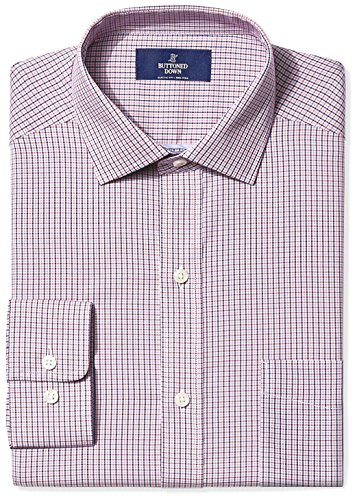 Amazon Brand - Buttoned Down Men's Classic Fit Spread-Collar Non-Iron Dress Shirt, Berry/Red/Navy Tattersall Micro Check, 16.5