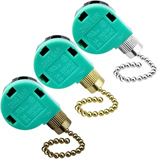 Topbuti 3 Pack Ceiling Fan Switch 3 Speed 4 Wire Zing Ear ZE-268S6 Fan Pull Chain Switch Replacement Speed Control Switch for Ceiling Fan Light, Wall Lamps, Cabinet Light (Multicolored)