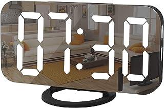 "Digital Alarm Clock, منبه رقمي, Necomi 7"" LED Mirror Electronic Clock with 2 USB Charging Ports, Snooze Mode, Auto Adjust ..."
