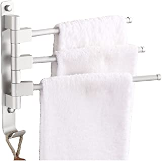 MOCOFO Swing Out Towel Bar, Bath Swivel Towel Holder Rack Space Aluminum Space SavingSteel Bathroom Adjustable Hand Pull Out 3 Bars Folding Arm Hanger Holder Multi Bar Wall Mount Polished Finish