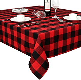 OurWarm Cotton Buffalo Plaid Check Tablecloth Rectangle 60 x 84 Inch, Waterproof Black and Red Christmas Checkered Tablecloth for Holiday Christmas Decorations Lumberjack Party Supplies