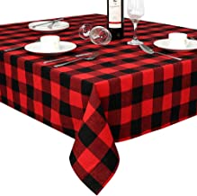 OurWarm Cotton Buffalo Plaid Check Table Cloth Rectangle 60 x 84 Inch, Waterproof Black and Red Christmas Check Tablecloth...