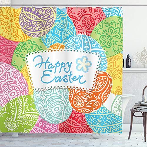 ABAKUHAUS Ostern Duschvorhang, Festlicher Frühlingsurlaub, Hochwertig mit 12 Haken Set Leicht zu pflegen Farbfest Wasser Bakterie Resistent, 175 x 200 cm, Multicolor