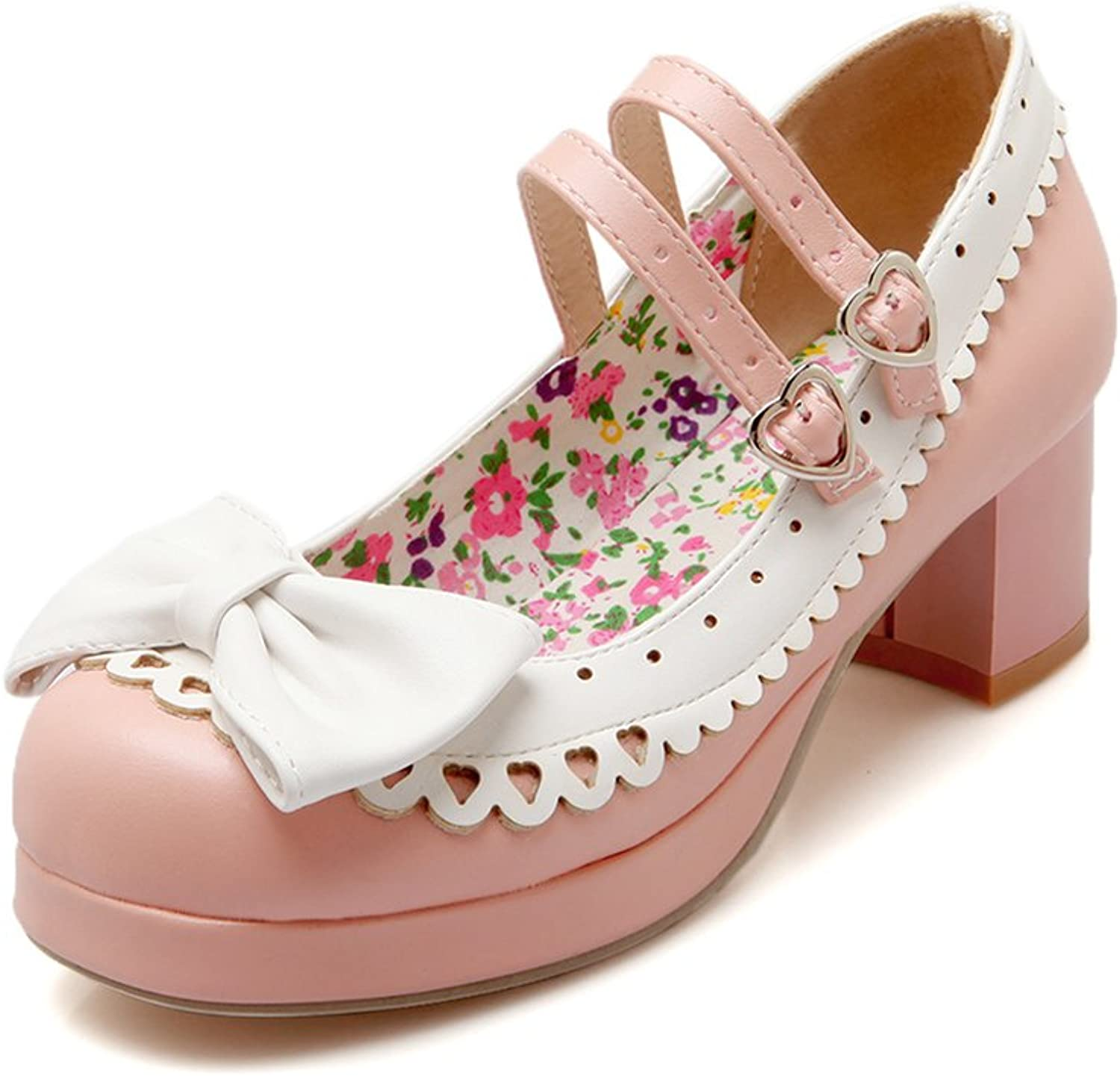 Lucksender Womens Lolita Style Chunky Heels Cute Bowknot Pumps shoes