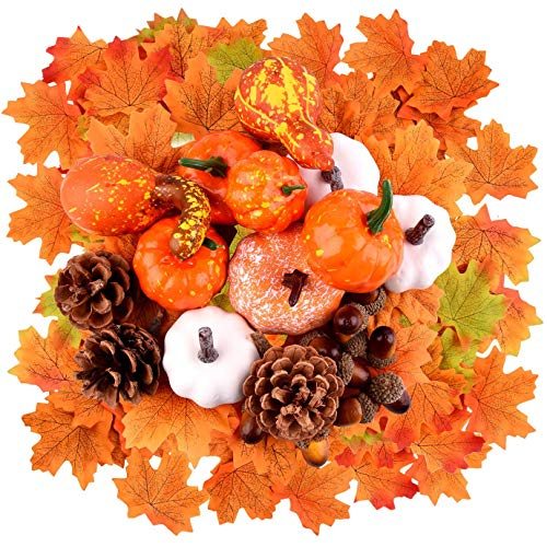WXJ13 112 Pcs Fall Artificial Pumpkins Decoration Set, Thanksgiving Harvest...