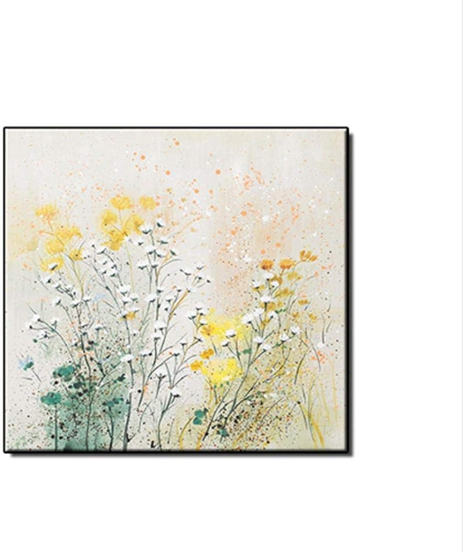 comprar mejor HBHBS HBHBS HBHBS sobre lienzo pintado a mano Pintado A Mano Abstracto Flores Pequeas blancoas Pintura Al óleo sobre Lienzo Imagen De Parojo sobre Lienzo para Sala De 60x60CM (24X24in)  producto de calidad