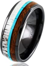 King's Cross Engraved Personalized Hi-Tech 8mm Gunmetal Black Polished Ceramic Domed Band Ring with Awesome Deer Antler, Koa Wood, Blue Turquoise Inlays.