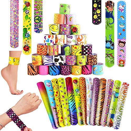 SPECOOL Bracelets à Claquer 55Pcs Slap Bracelets pour l'anniversaire Anniversaire Enfant Parti Sac Remplisseurs Cadeau Party Favors pour Filles Garçons (2)