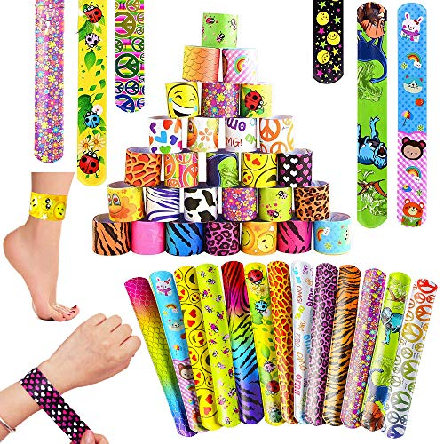 SPECOOL Pulsera Bofetada Pulseras de Juguete 55Pcs Slap Pulsera, Slap Bracelets, Banda de Pulsera, Fiesta Cumpleaños de Infantil Rellenos de Bolsa de Fiesta para niños niñas